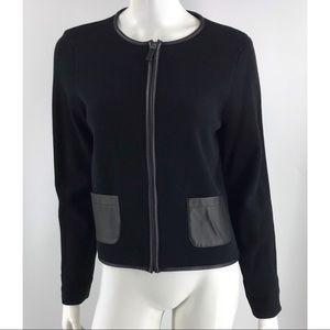 Ralph Lauren Black Cotton Faux Leather Jacket